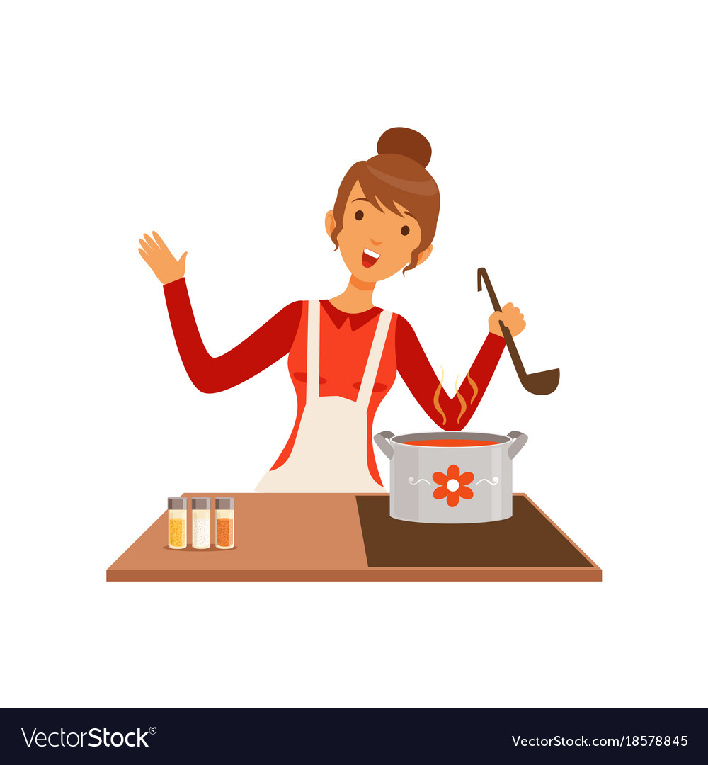 Young woman with ladle cooking soup housewife