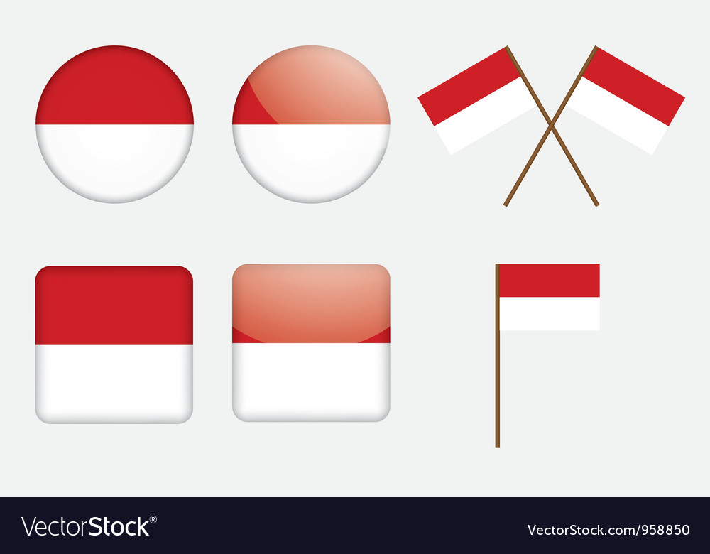 Badges with flag of Indonesia
