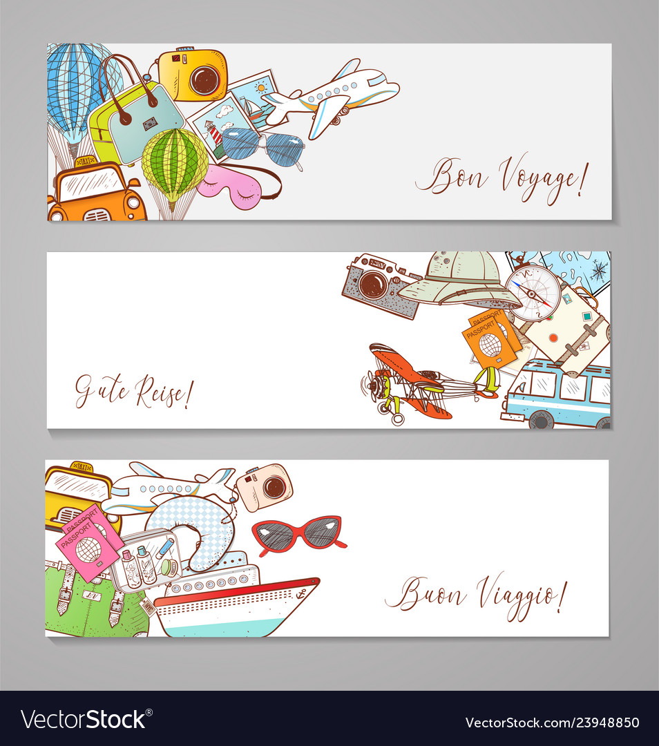 Banners with cartoon travel doodles on white