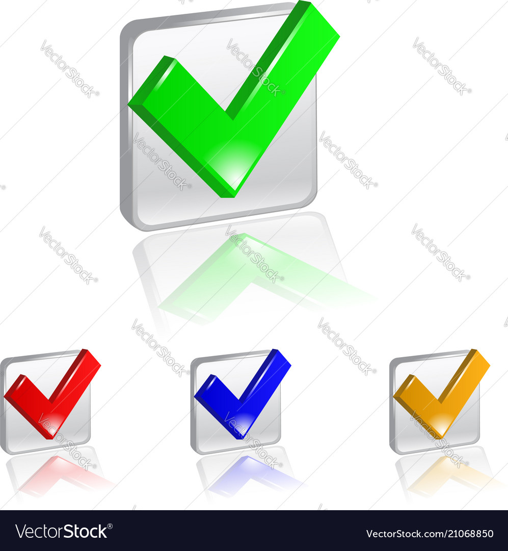 Checkbox icon set on square color background