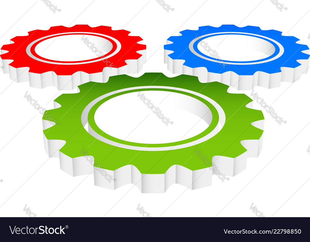 Colorful composition of 3d gears cogwheels