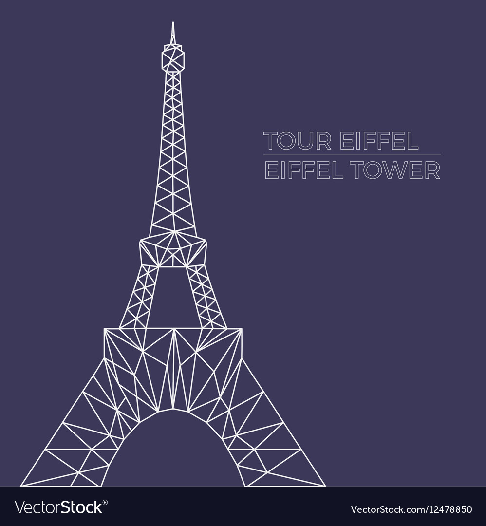 Eiffel tower in polygonal style vector image
