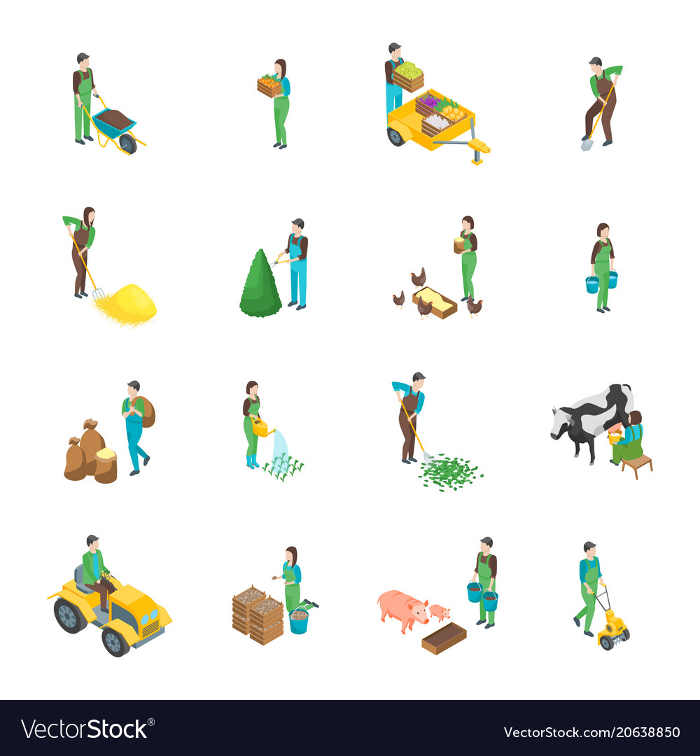 Farmers at work 3d icons set isometric view