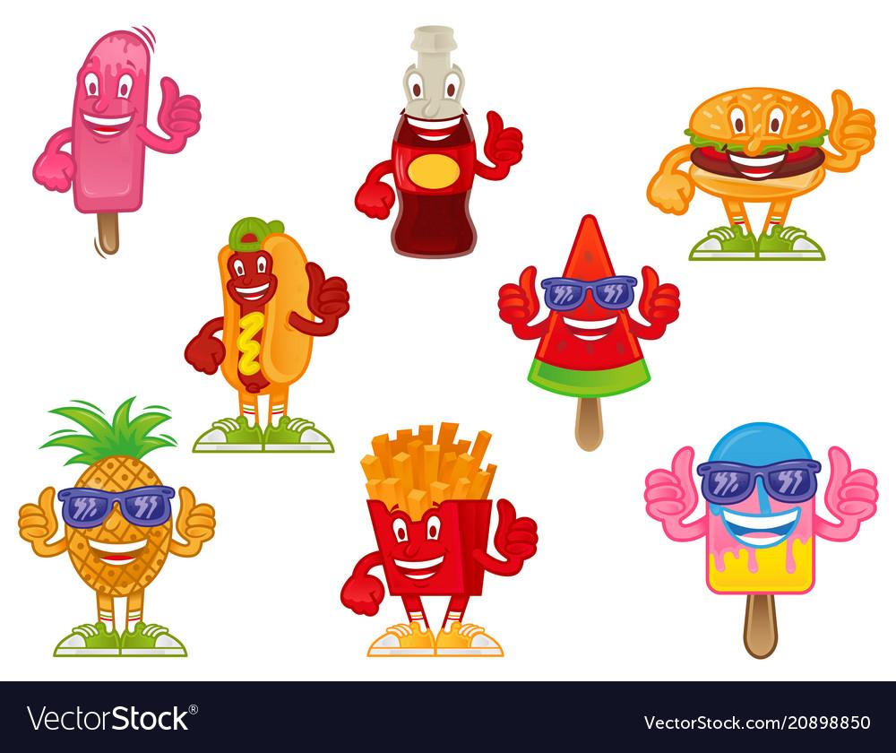 Fast food cartoon character set