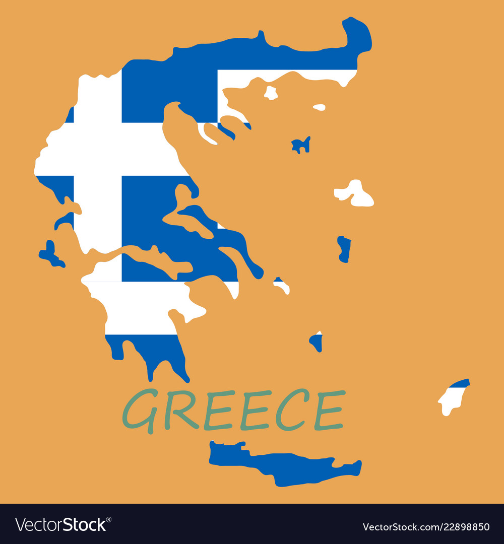 Flag map of greece