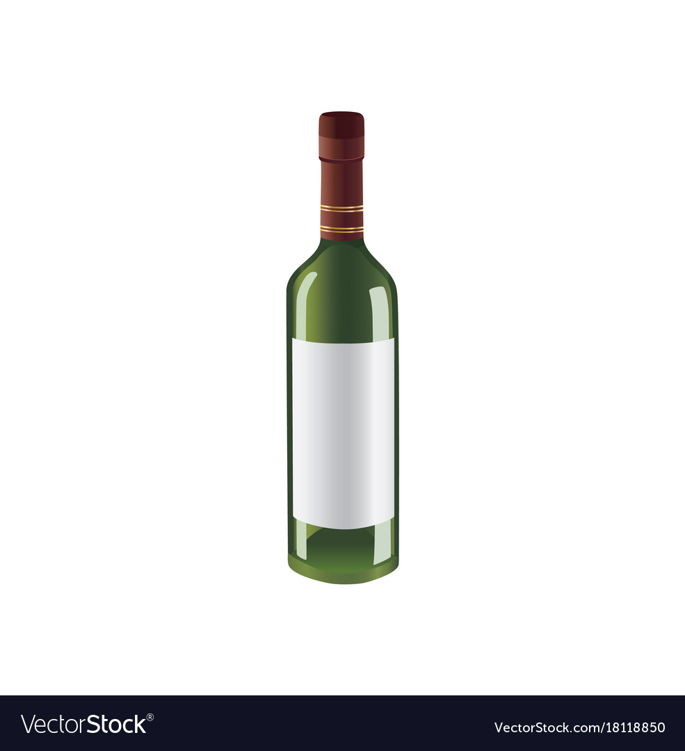 Green bottle of wine with space for brand