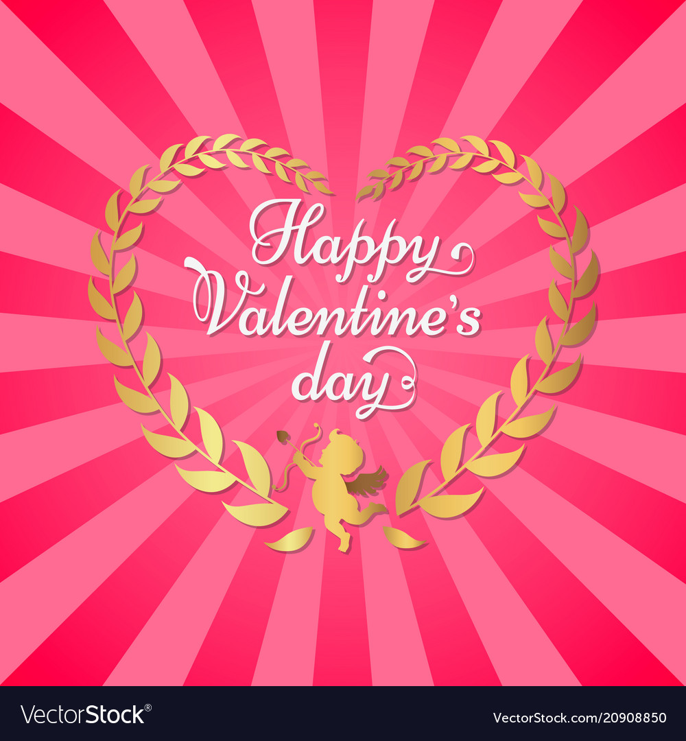 Happy valentines day poster inscription in heart