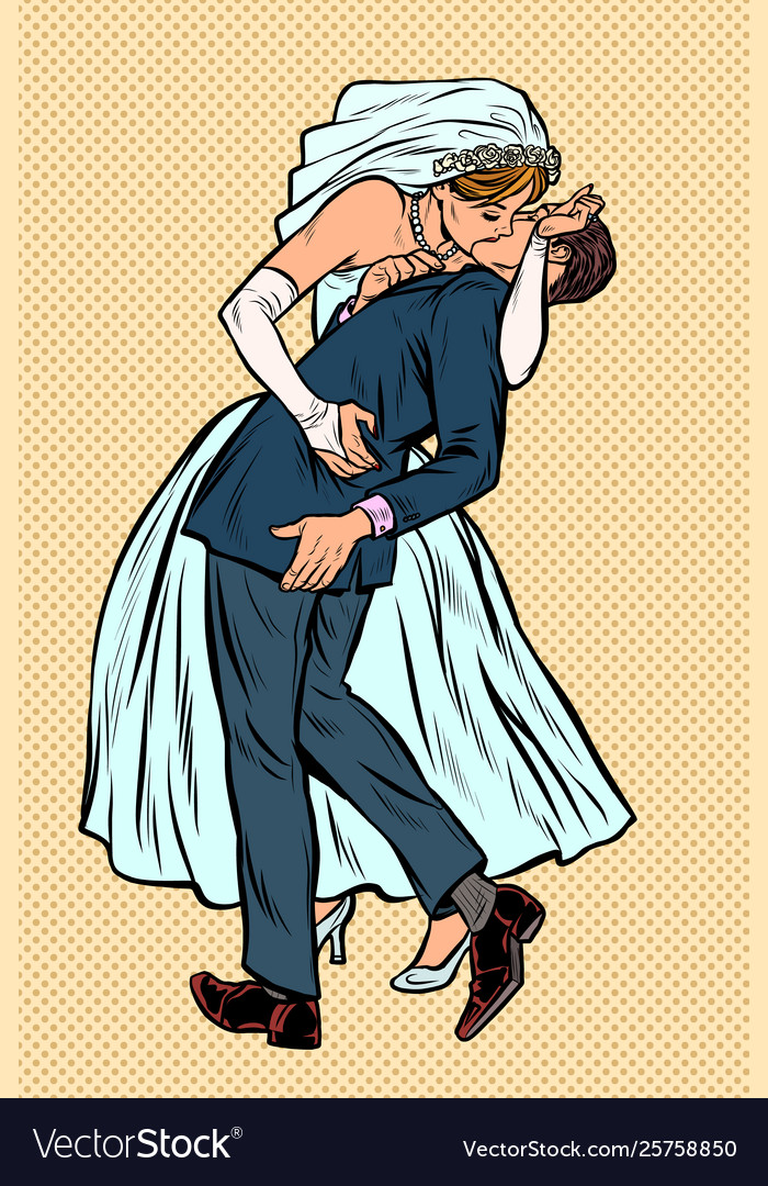 Kiss bride and groom wedding ceremony feminist