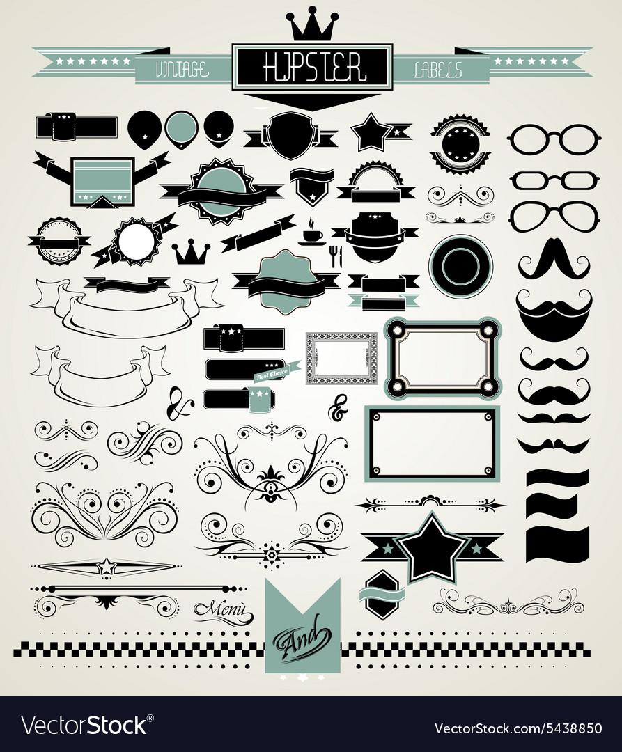 Mega Set of Vintage Labels for your Hipster vector image