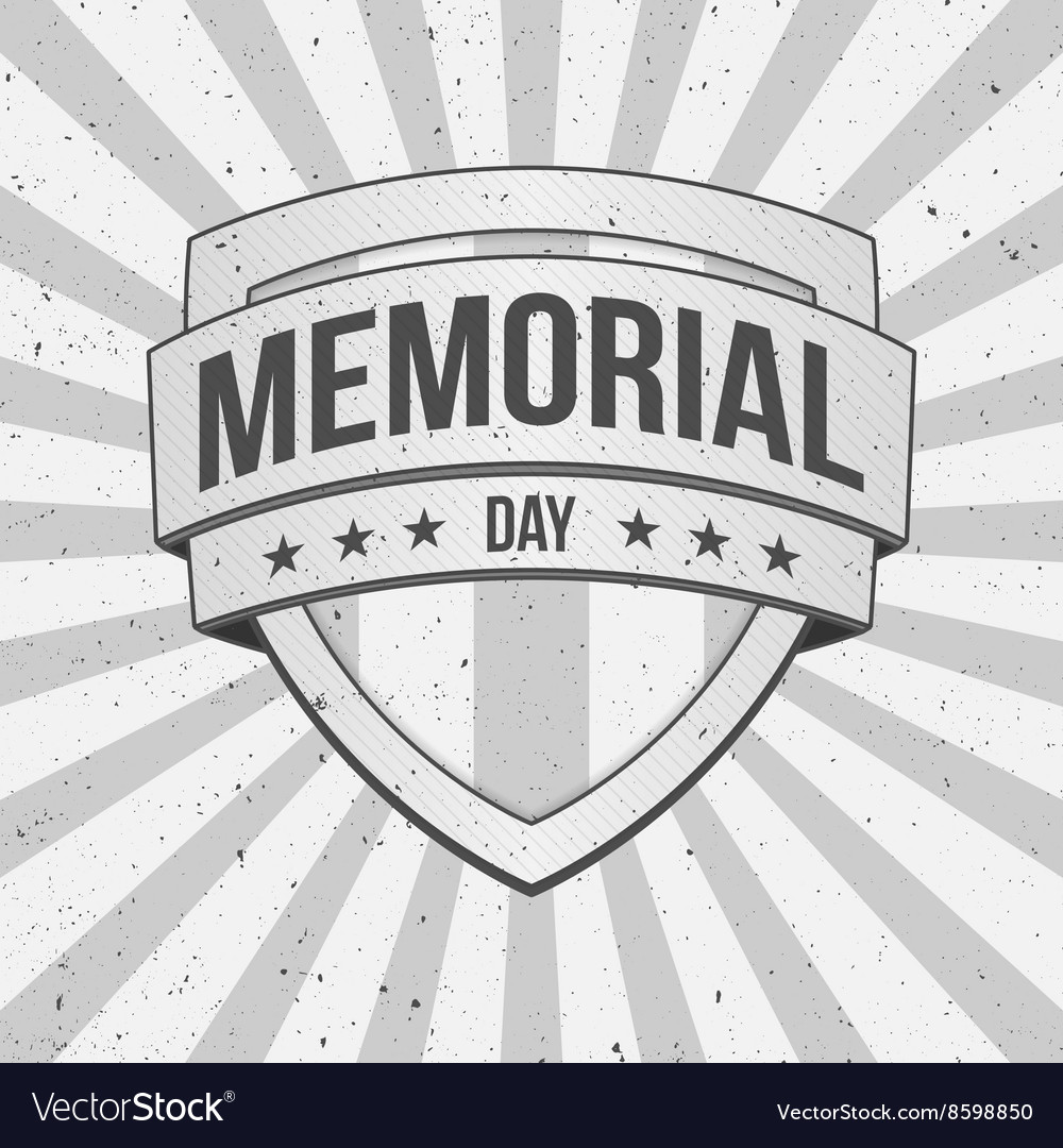 Memorial Day Shield on striped grunge Background