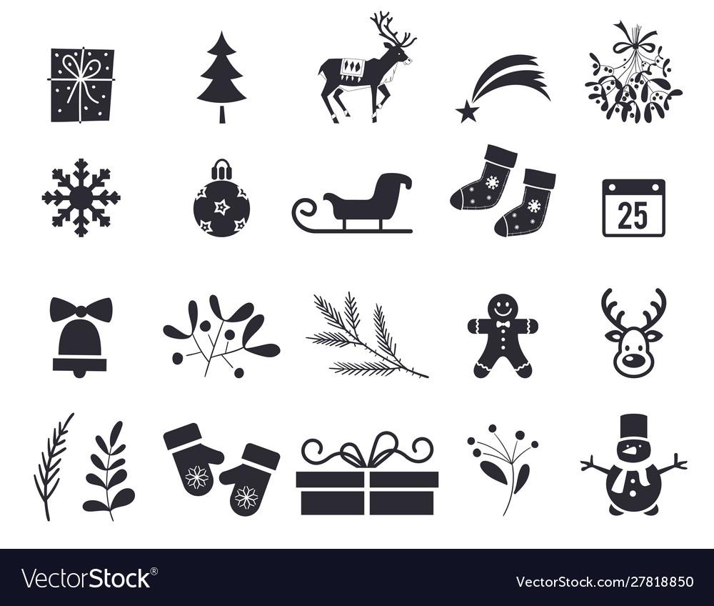 New year symbols black isolated on white