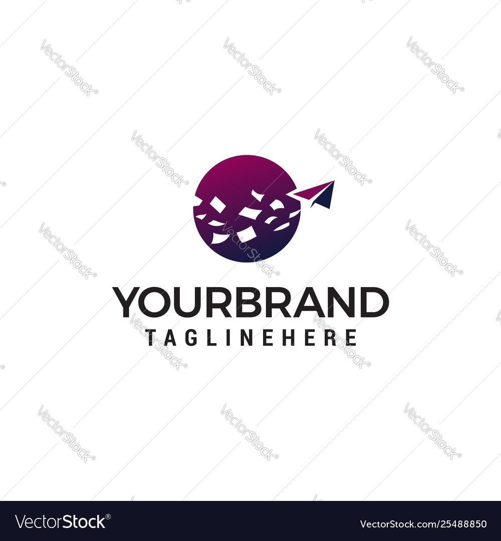 Paper plane logo design concept template