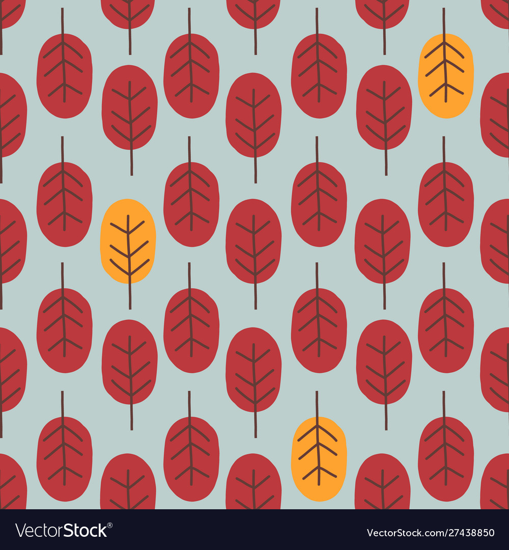 Seamless abstract autumn tree pattern forest