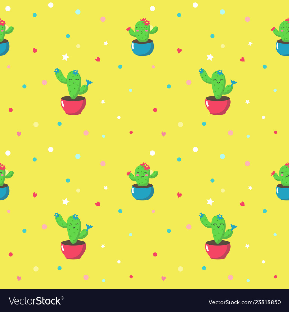 Seamless pattern with cute cartoon cactuses
