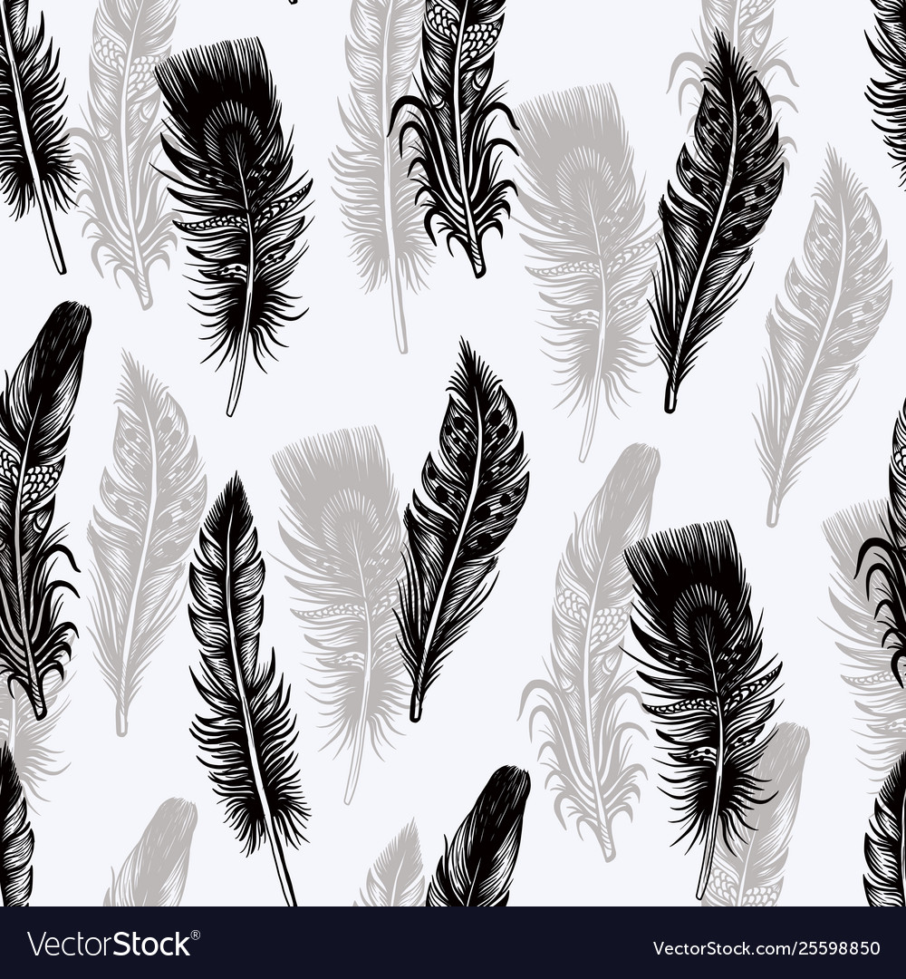 Seamless pattern with graphic feather