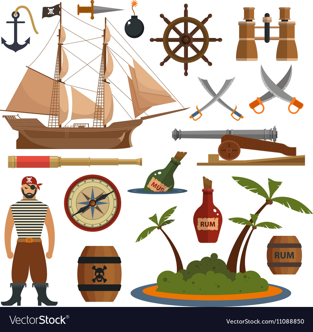 Set of sea pirates objects icons and