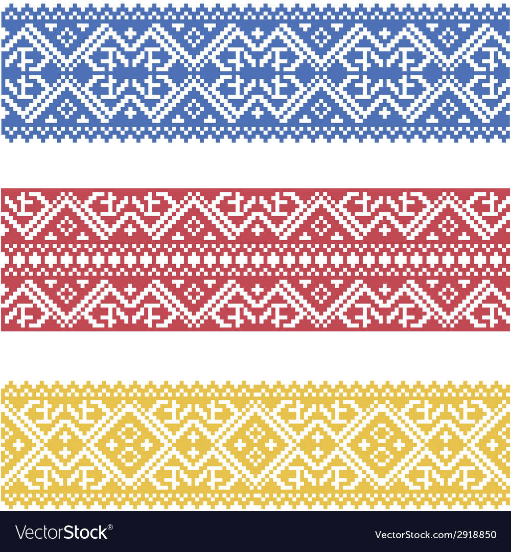 Set of seamless ornamented borders based on
