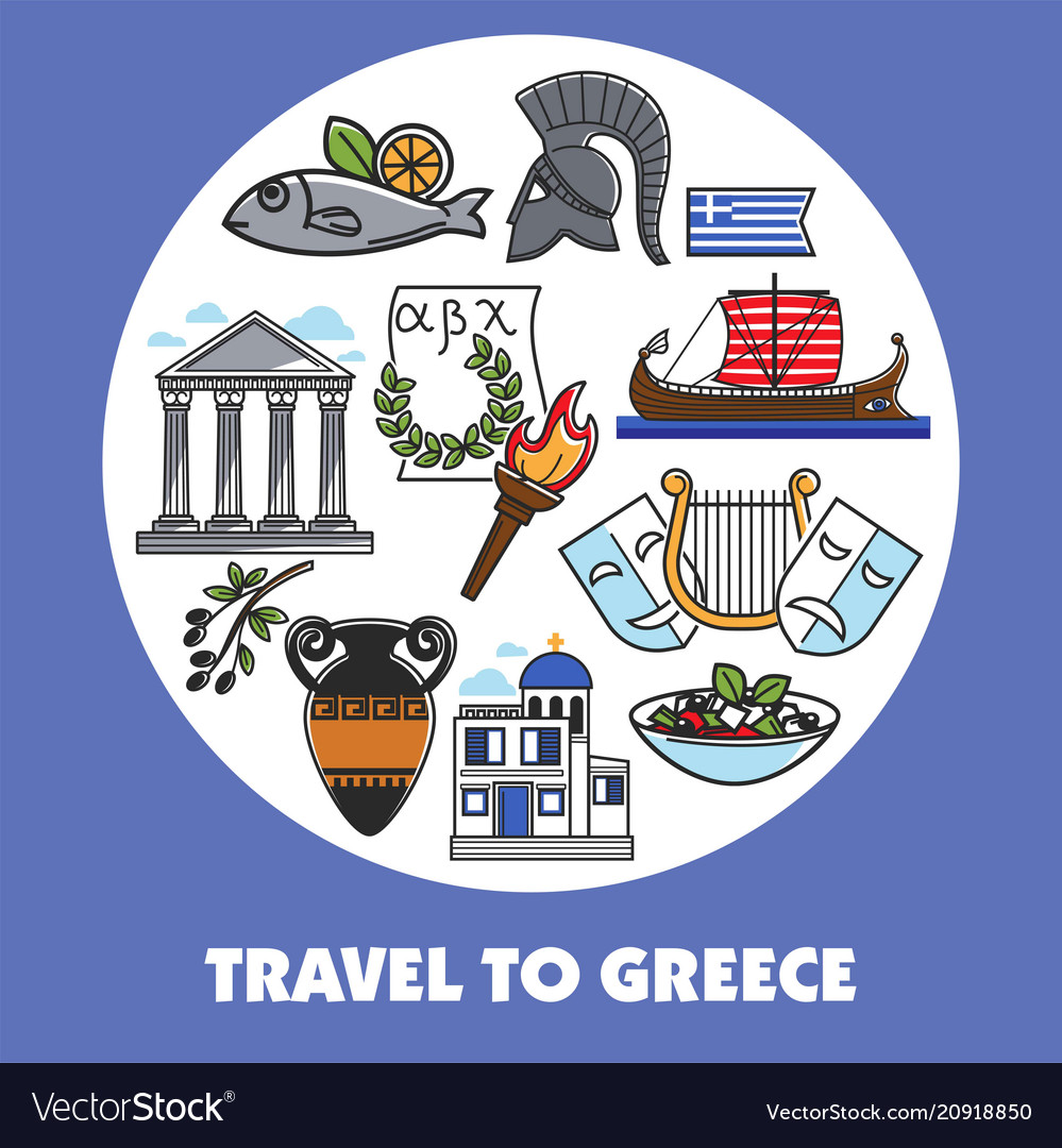 Travel to greece promo poster with national