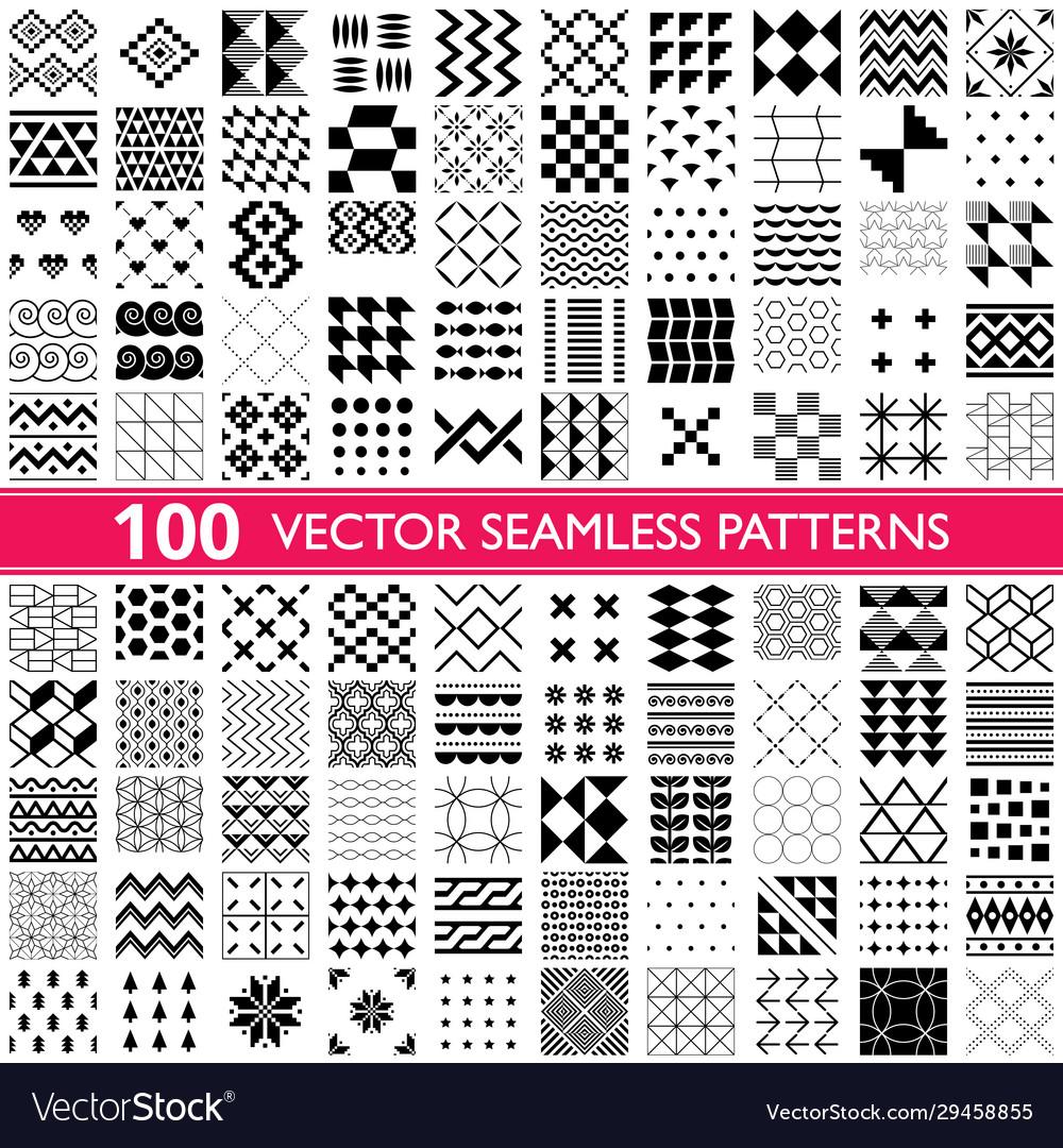 100 seamless patterns - big set different