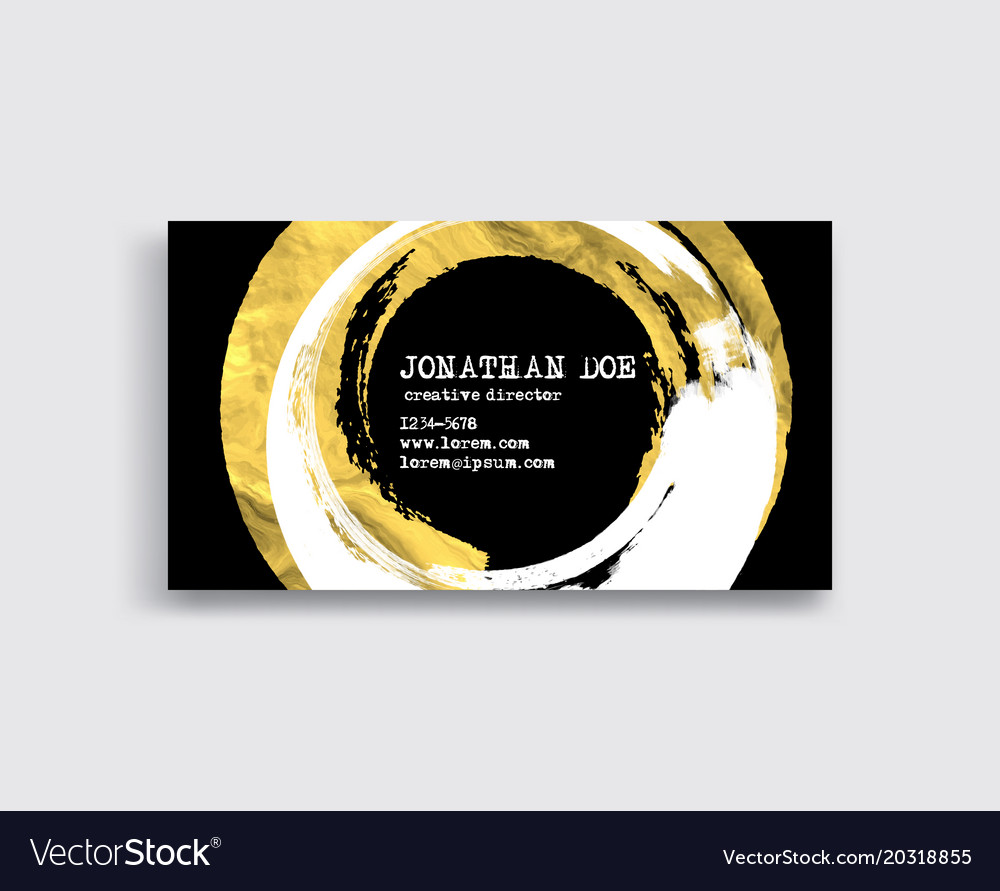 Black white and gold business card template vector image reheart Choice Image