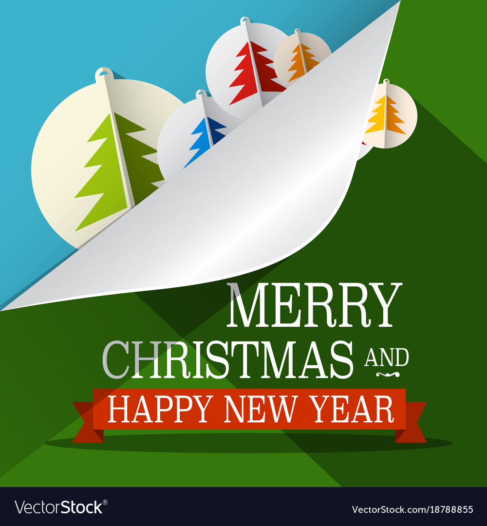 Christmas xmas green paper cut tree eve december vector image