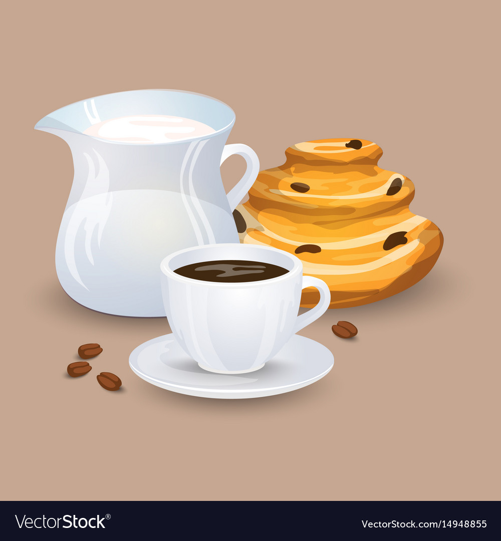 Cup with coffee drink sweets and beans