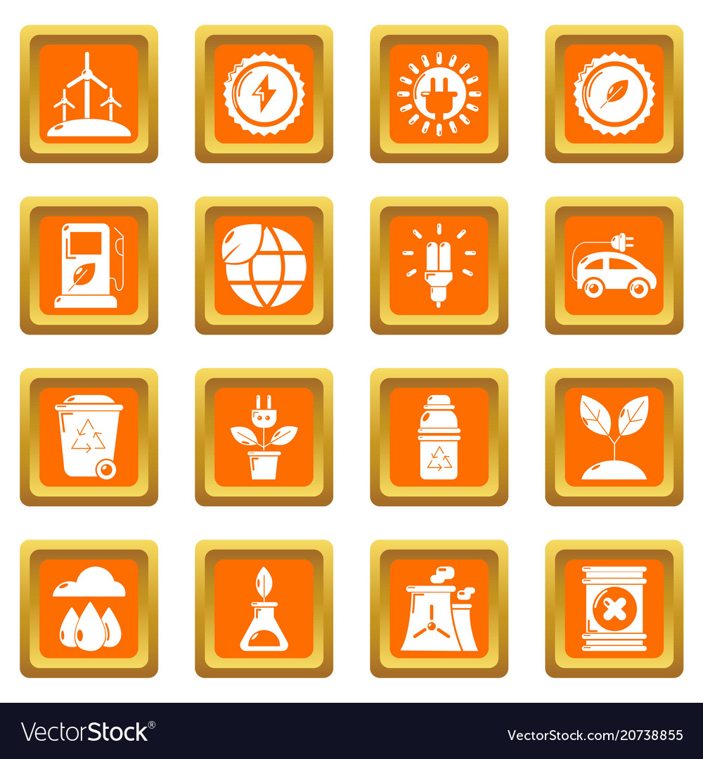 Ecology icons set orange square vector image