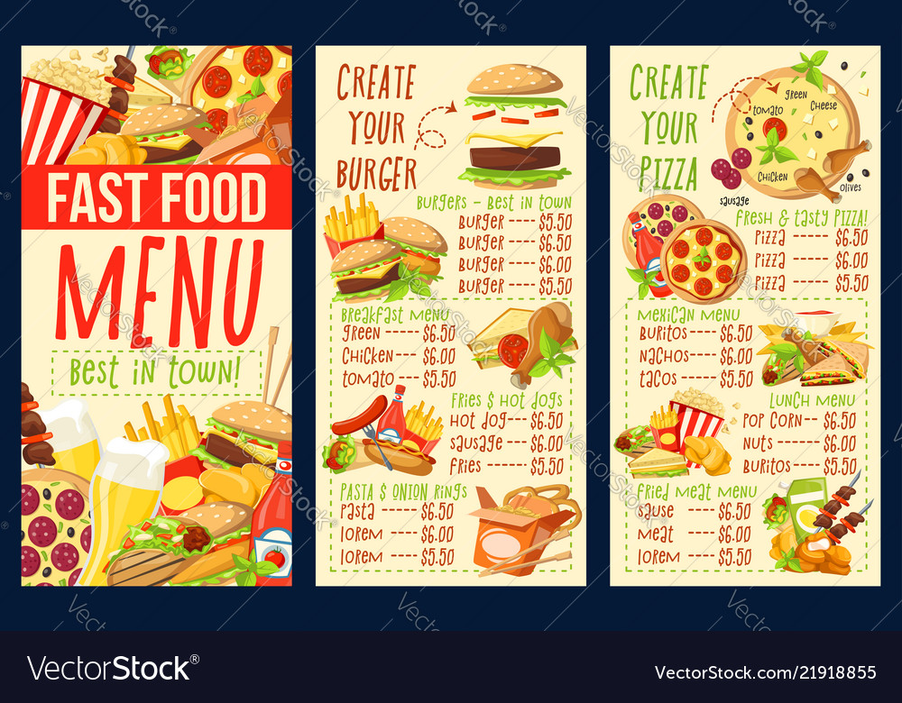 Fast food combo meals burgers and pizza menu