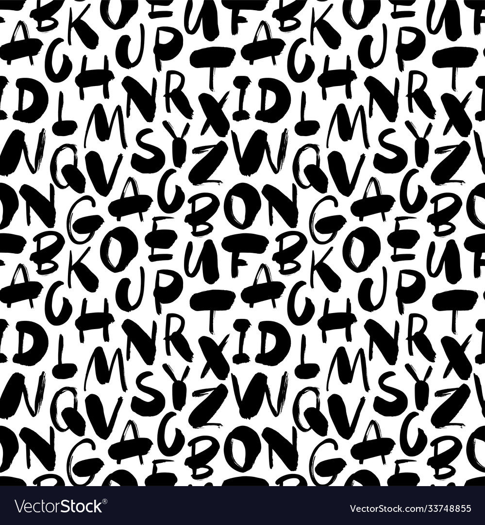 Hand drawn alphabet letter seamless pattern