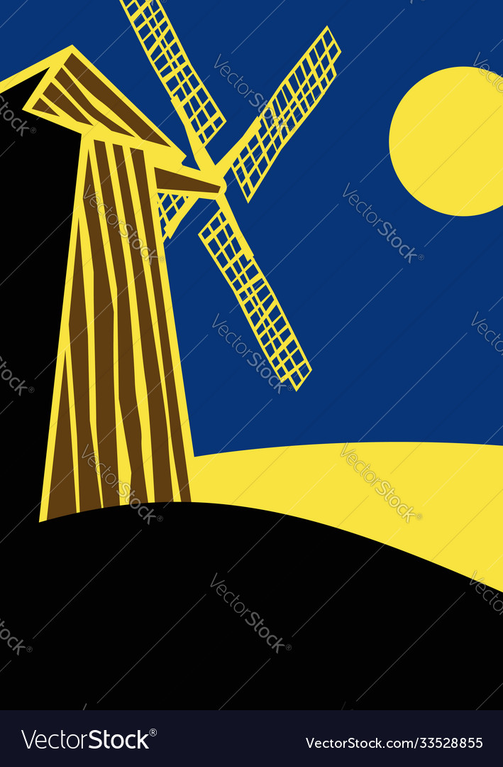 Old windmill at night in moonlight drawing
