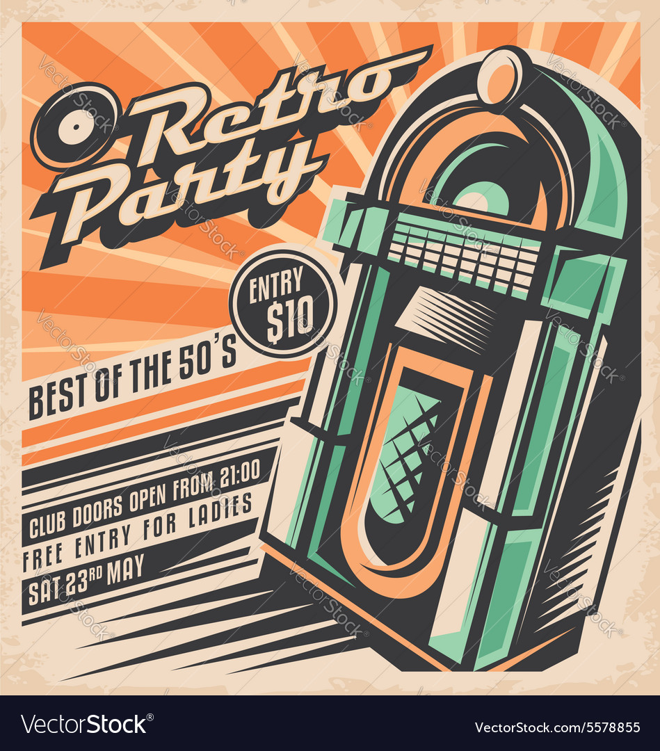 Retro party invitation design template Royalty Free Vector