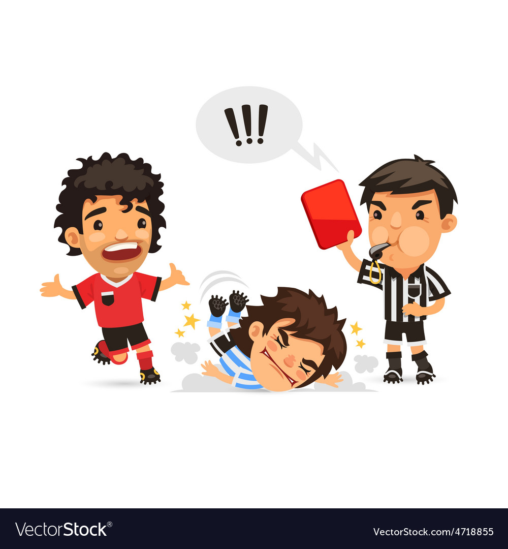 Soccer player who making tackle foul and Referee