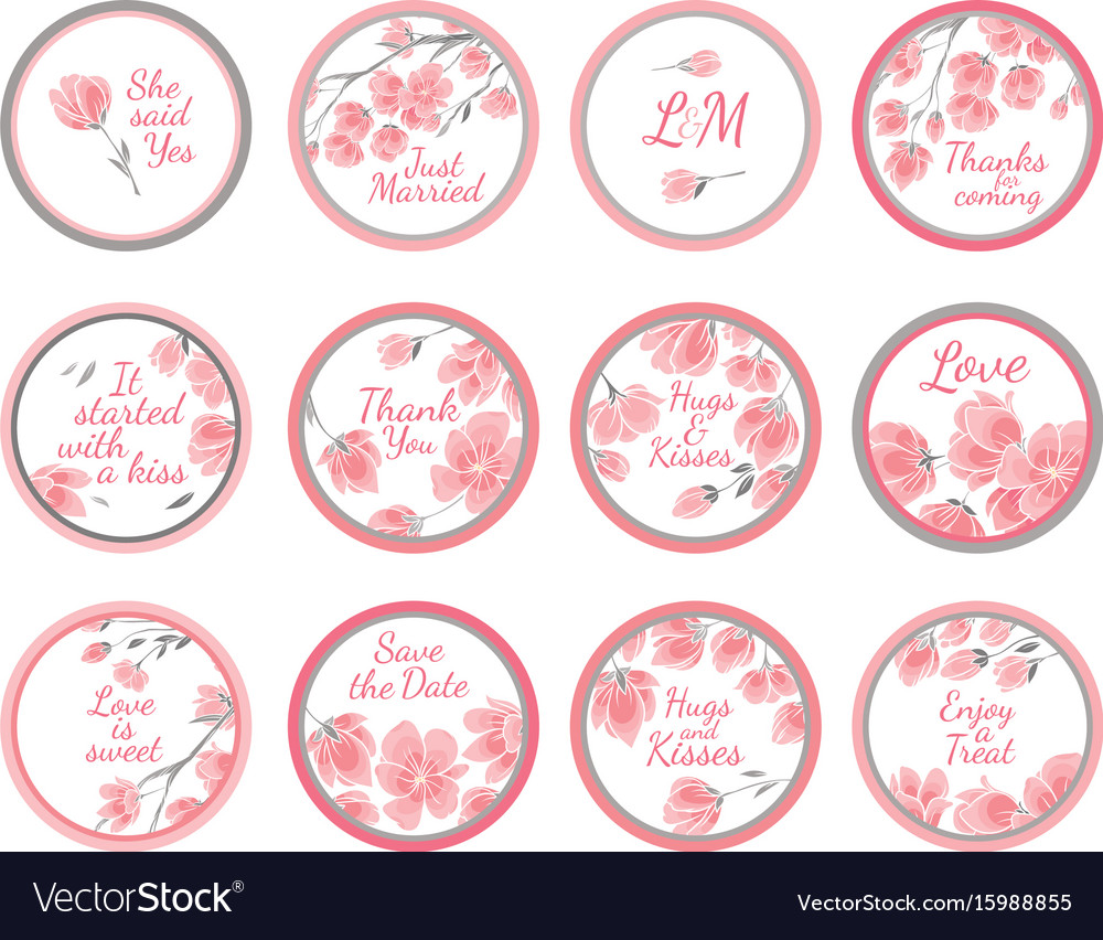 template greeting labels wedding gift for guest vector image