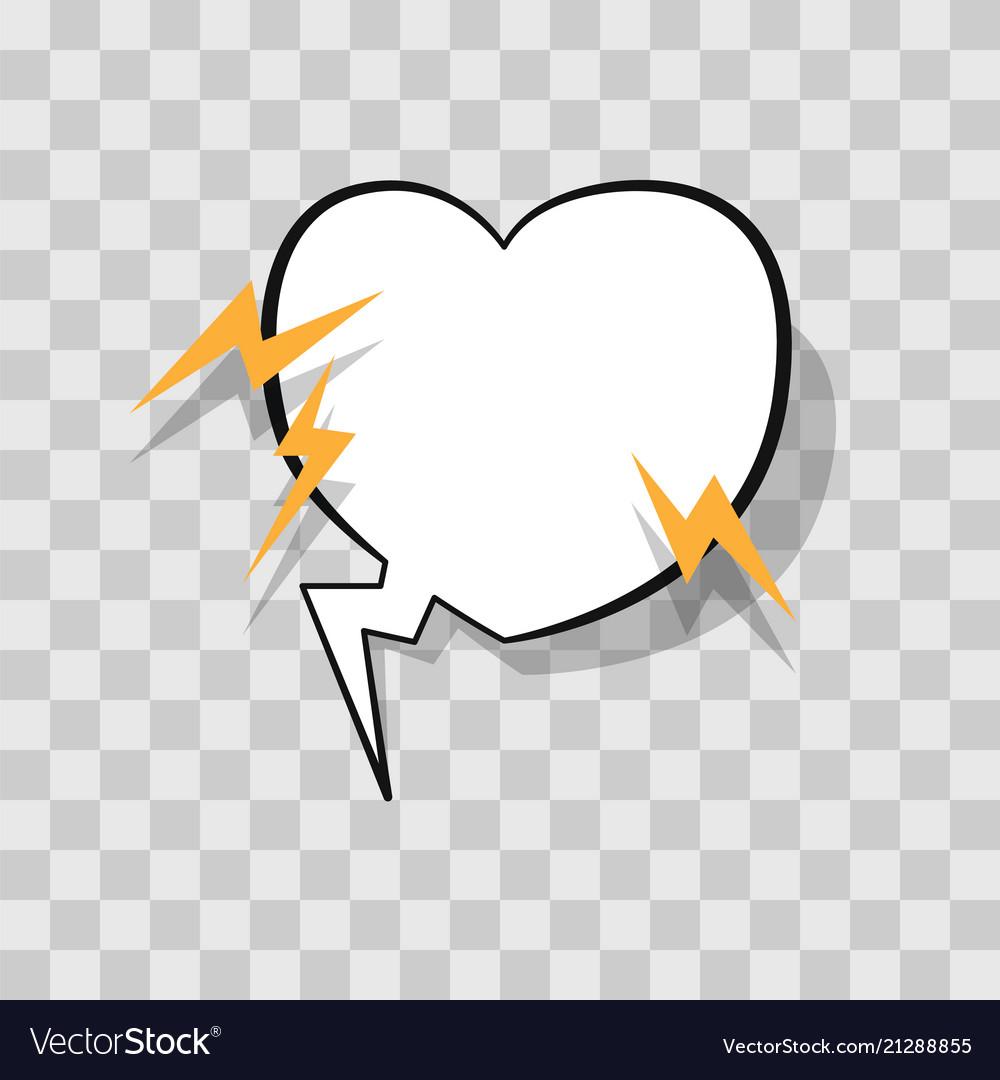 White speech bubble in heart shape with lightning