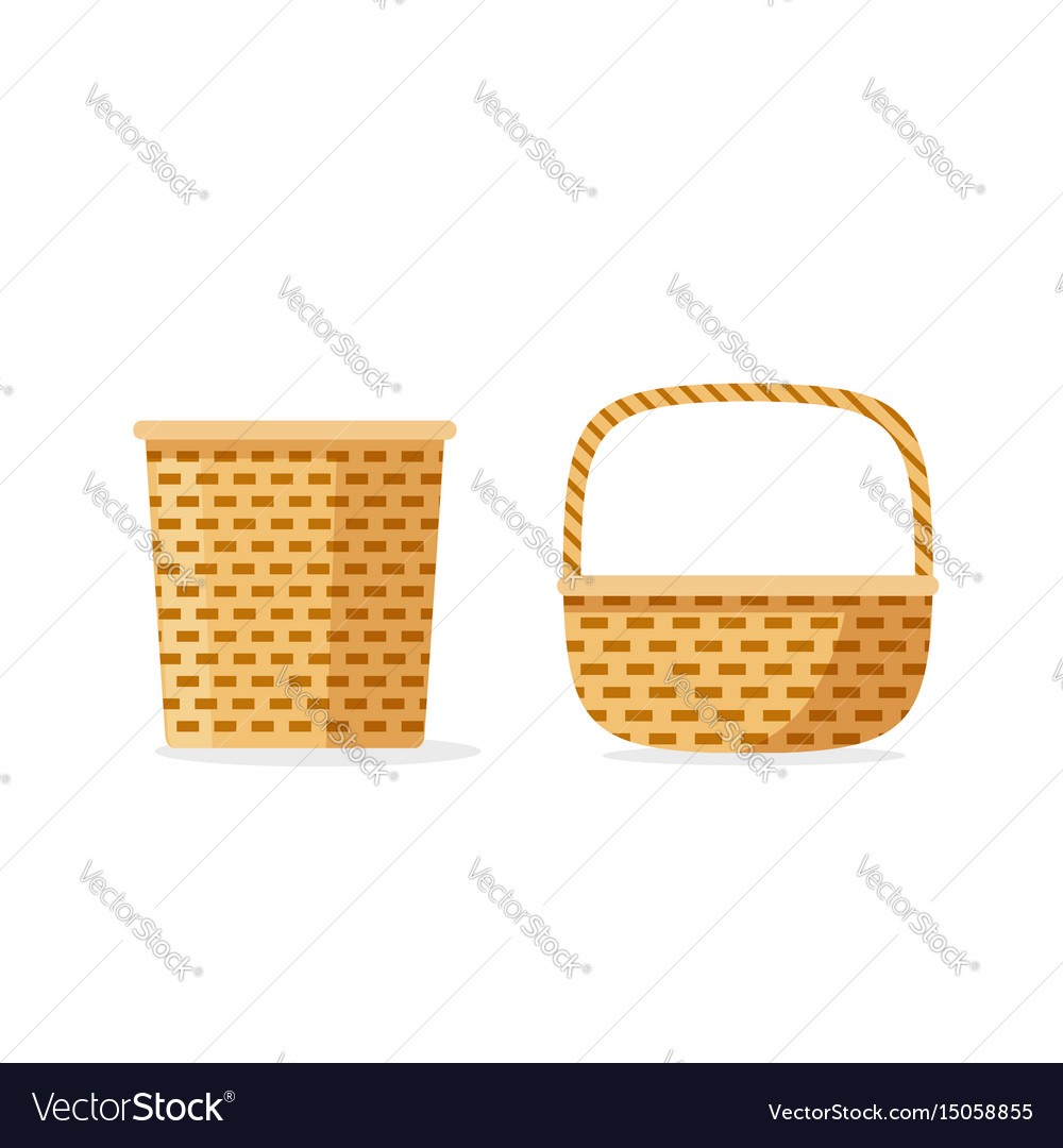 Wicker basket icons isolated flat cartoon