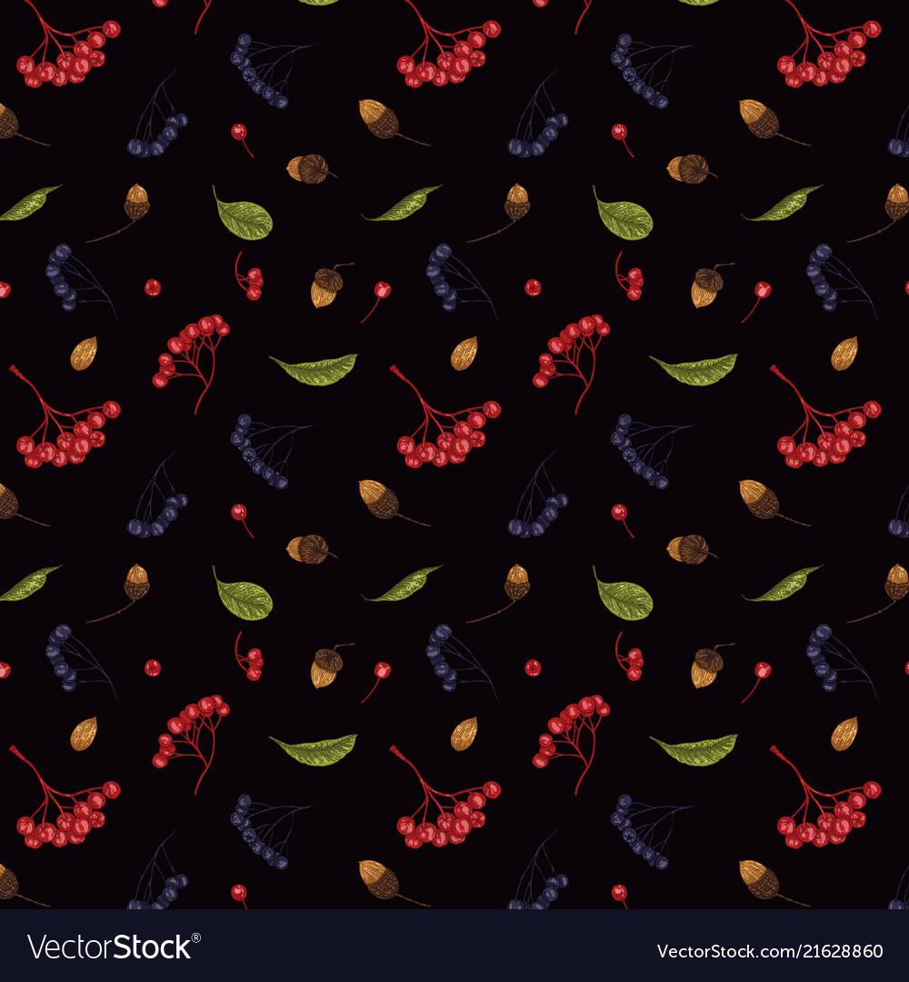 Autumn seamless pattern of rowan