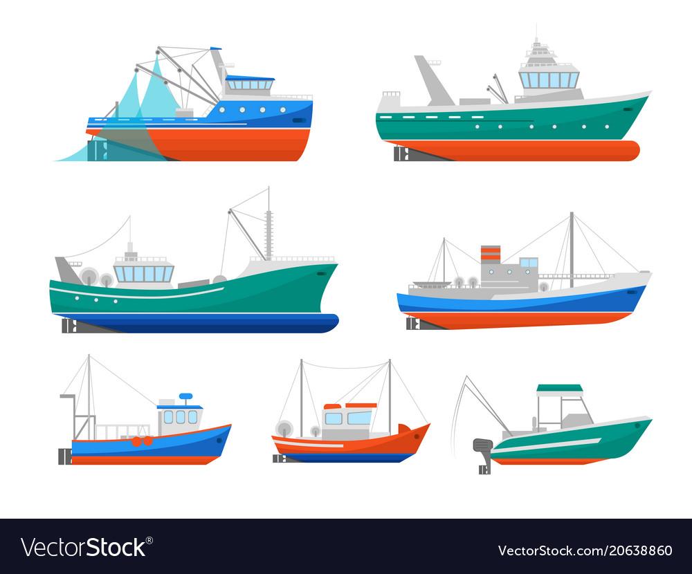 Cartoon Fishing Boats Icons Set Royalty Free Vector Image