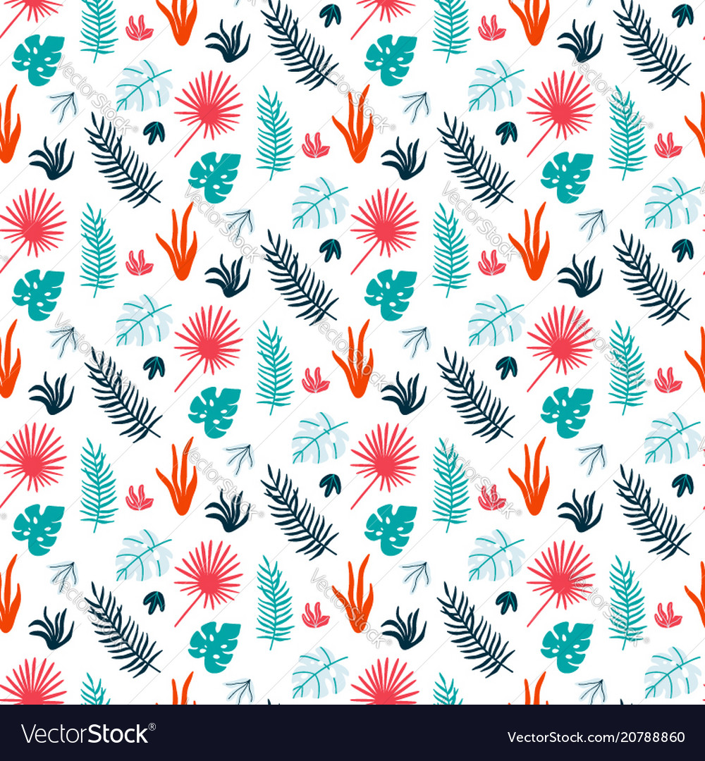 Colorful summer print with tropical leaves