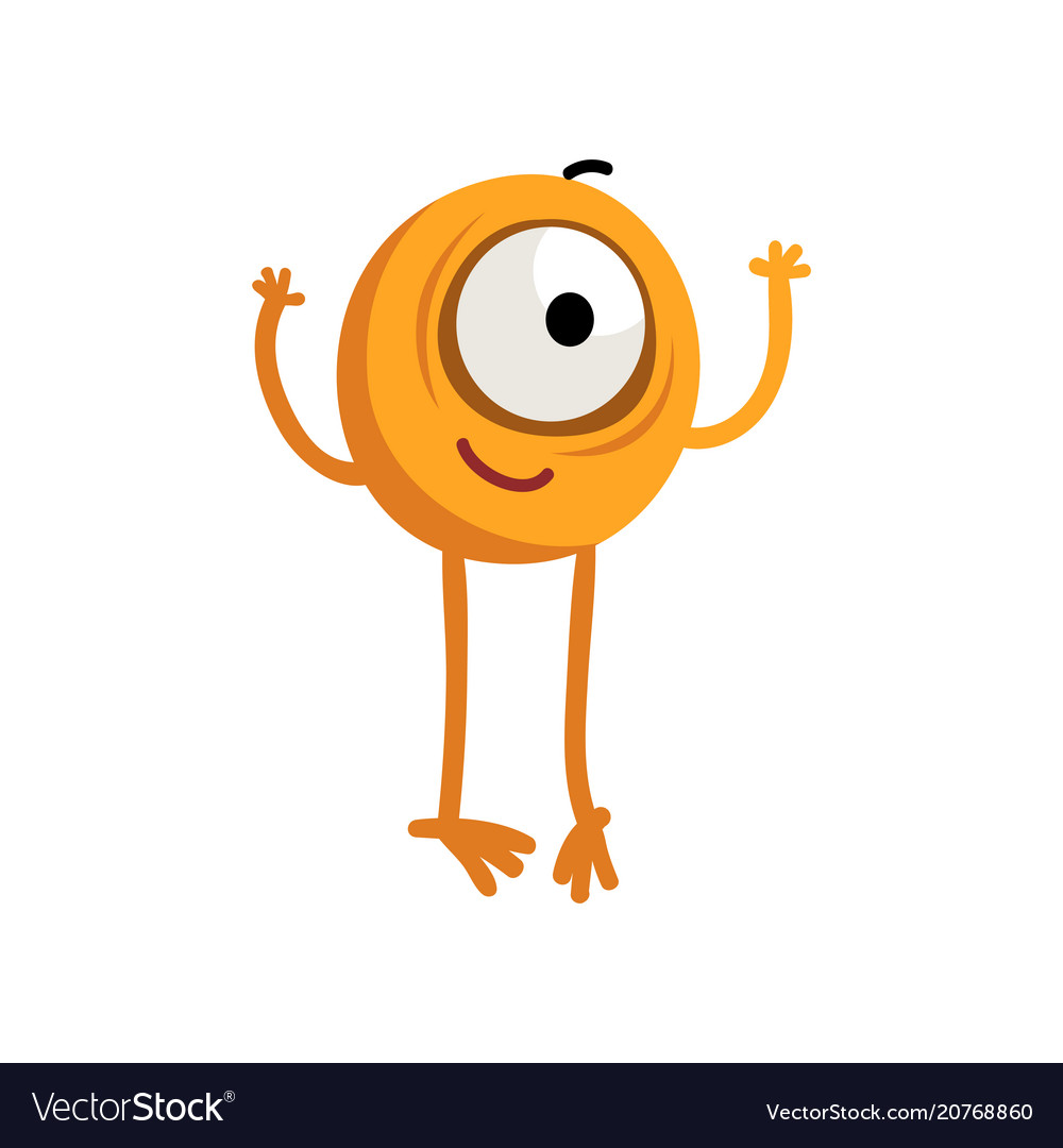 Cute cartoon one eyed yellow monster character
