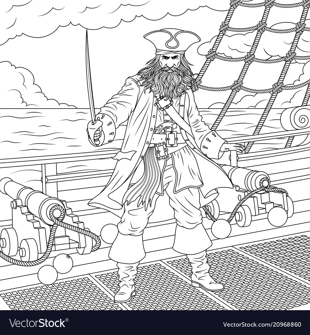 Evil captain pirates vector
