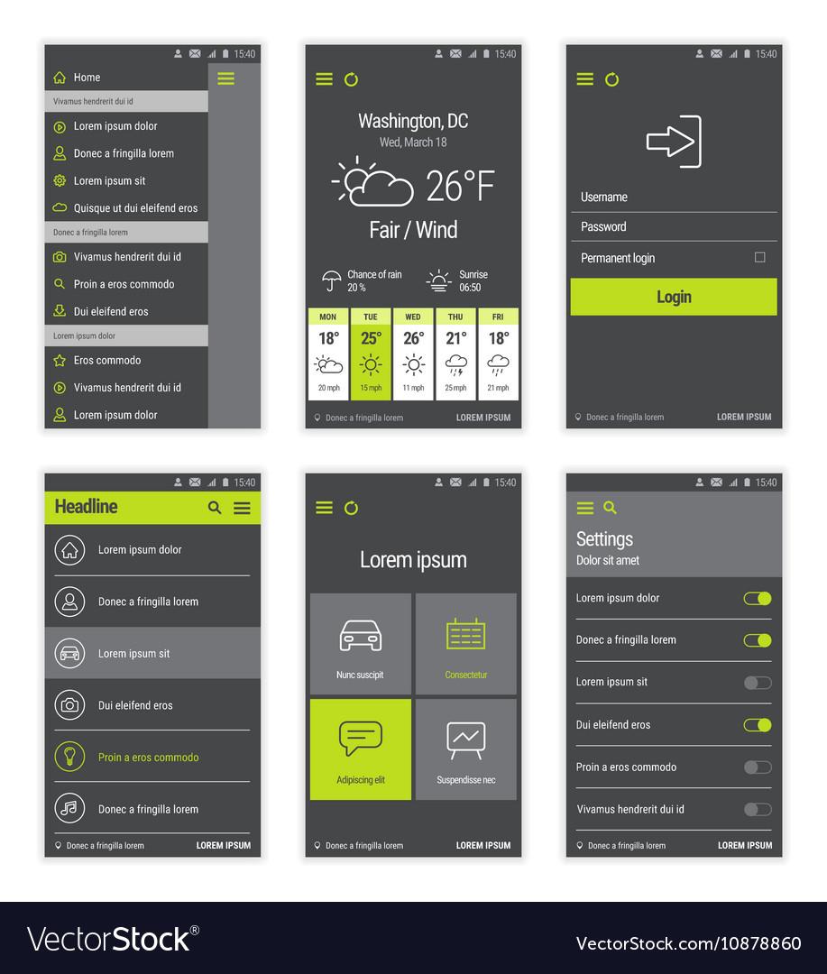 Green buttons set mobile user interface design