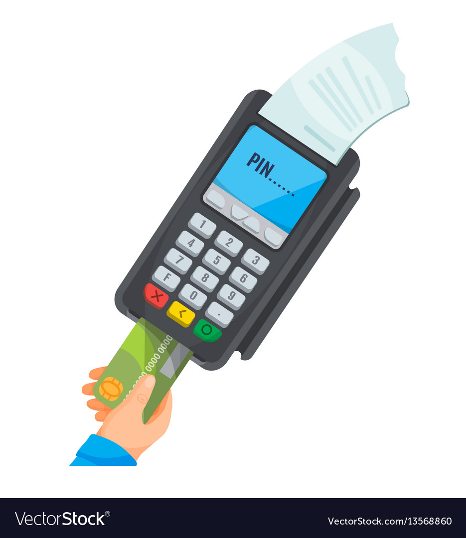 Hand taking card from dark pos terminal with white