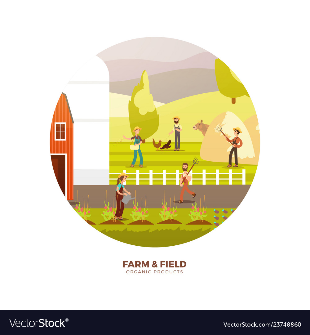 Organic farm products label design harvest