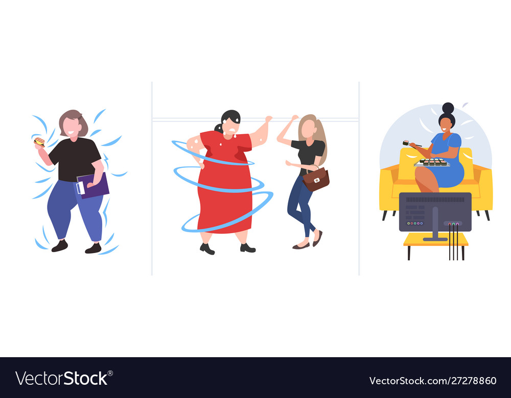 Set fat obese people in different poses overweight