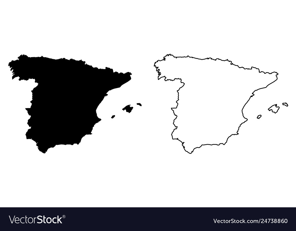 Map Of Spain Drawing.Simple Only Sharp Corners Map Spain Drawing