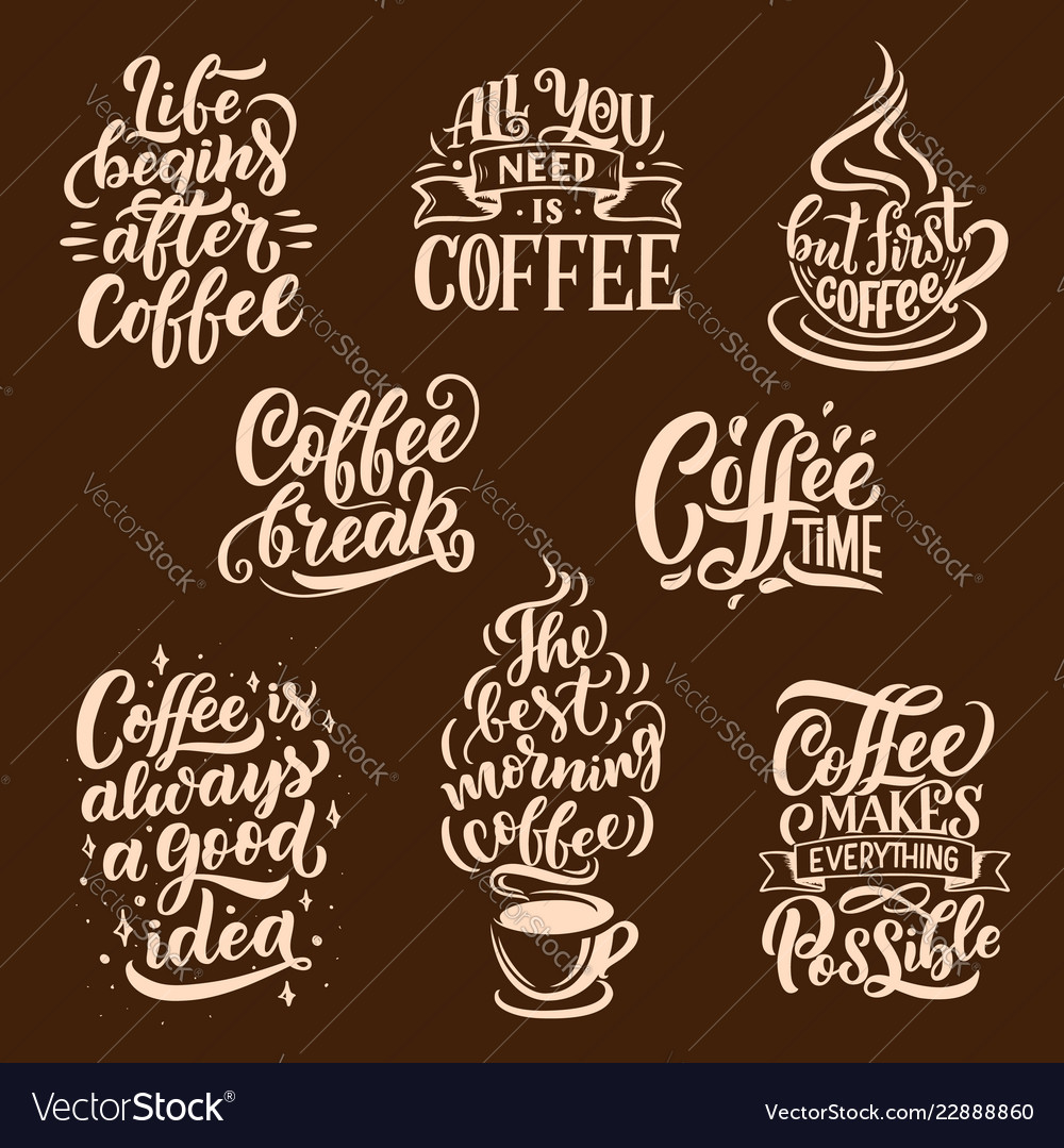 Steaming coffee drink lettering