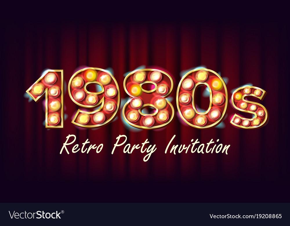 1980s retro party invitation 1980 vintage Vector Image