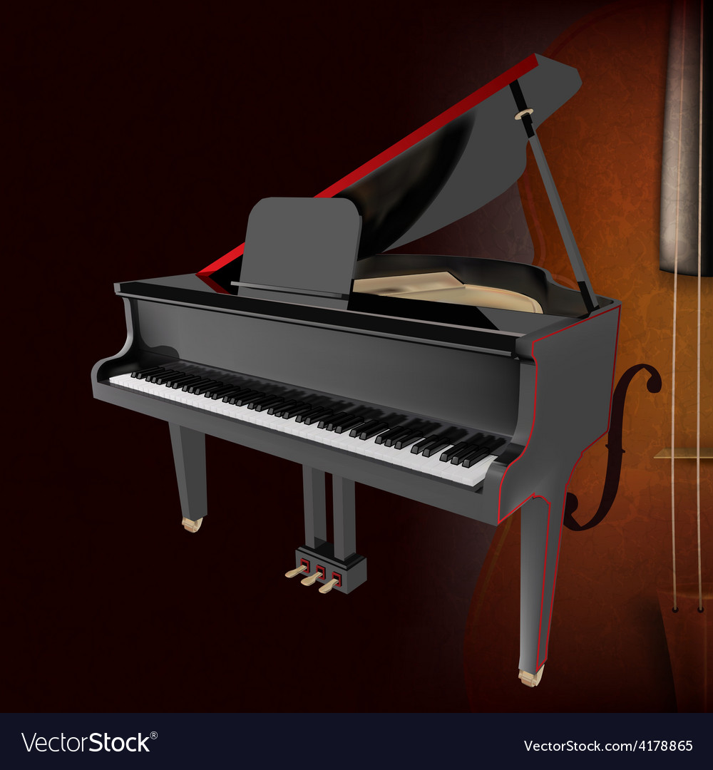 Abstract Music Grunge Dark Background With Piano Vector Image