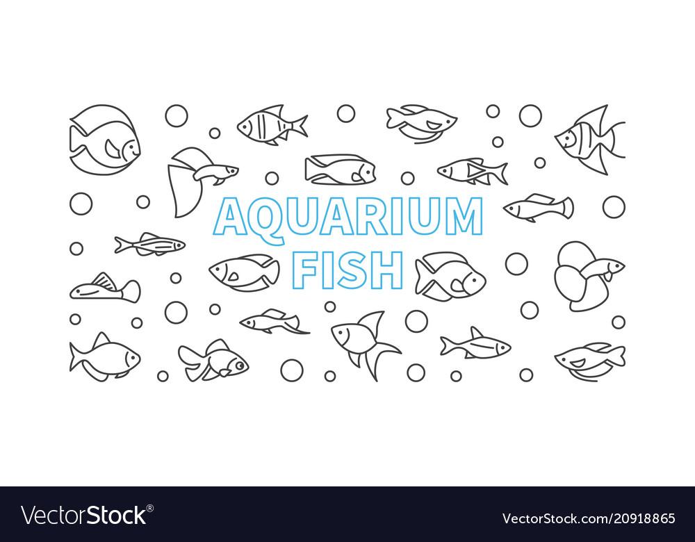 Aquarium fish horizontal banner in thin