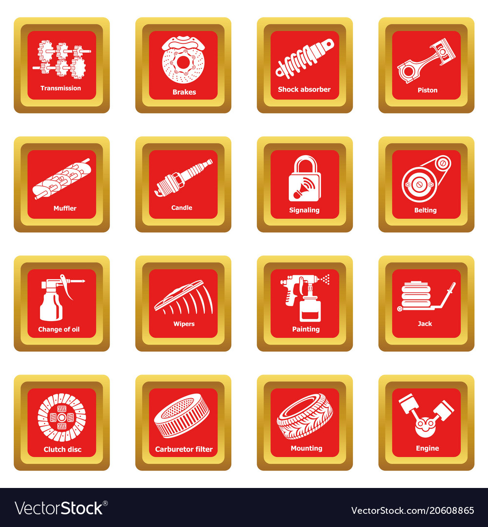 Car repair parts icons set red square vector image